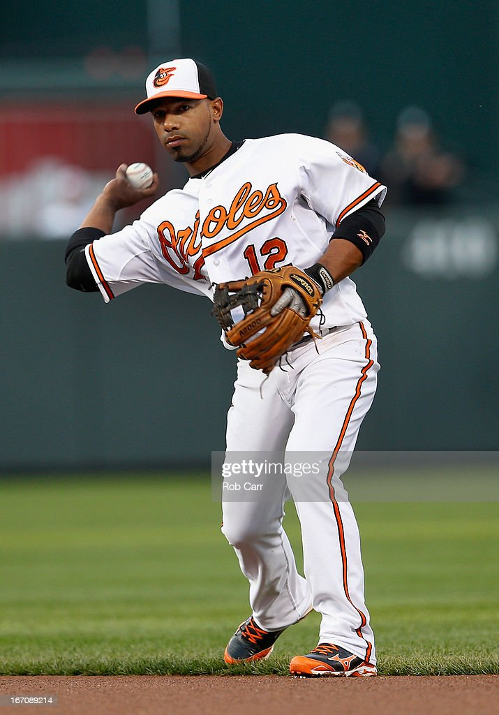 Second baseman Alexi Casilla of the Baltimore Orioles throws the ball to first base for an out against the Tampa Bay Rays at Oriole Park at Camden...