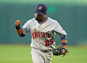 Second baseman Alexi Casilla of the Minnesota Twins celebrates after making a play in a game against the Kansas City Royals at Kauffman Stadium on...