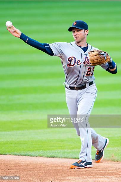 Second baseman Andrew Romine of the Detroit Tigers throws out Carlos Santana of the Cleveland Indians during the third inning during game two of a...