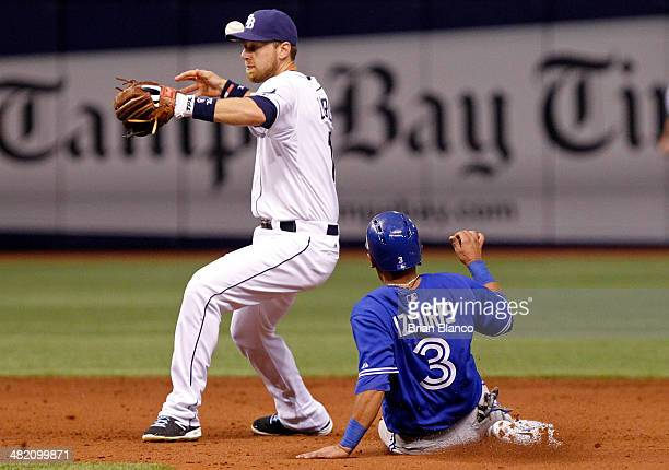 Second baseman Ben Zobrist of the Tampa Bay Rays gets the forced out on Maicer Izturis of the Toronto Blue Jays during the eighth inning of a game on...