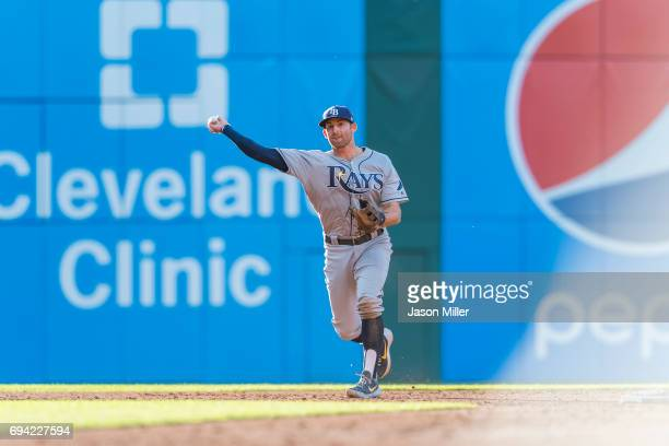 Second baseman Brad Miller of the Tampa Bay Rays throws out Edwin Encarnacion of the Cleveland Indians at first during the third inning at...