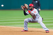 Second baseman Brandon Phillips of the Cincinnati Reds fields a ground ball hit by Carlos Santana of the Cleveland Indians during the sixth inning at...