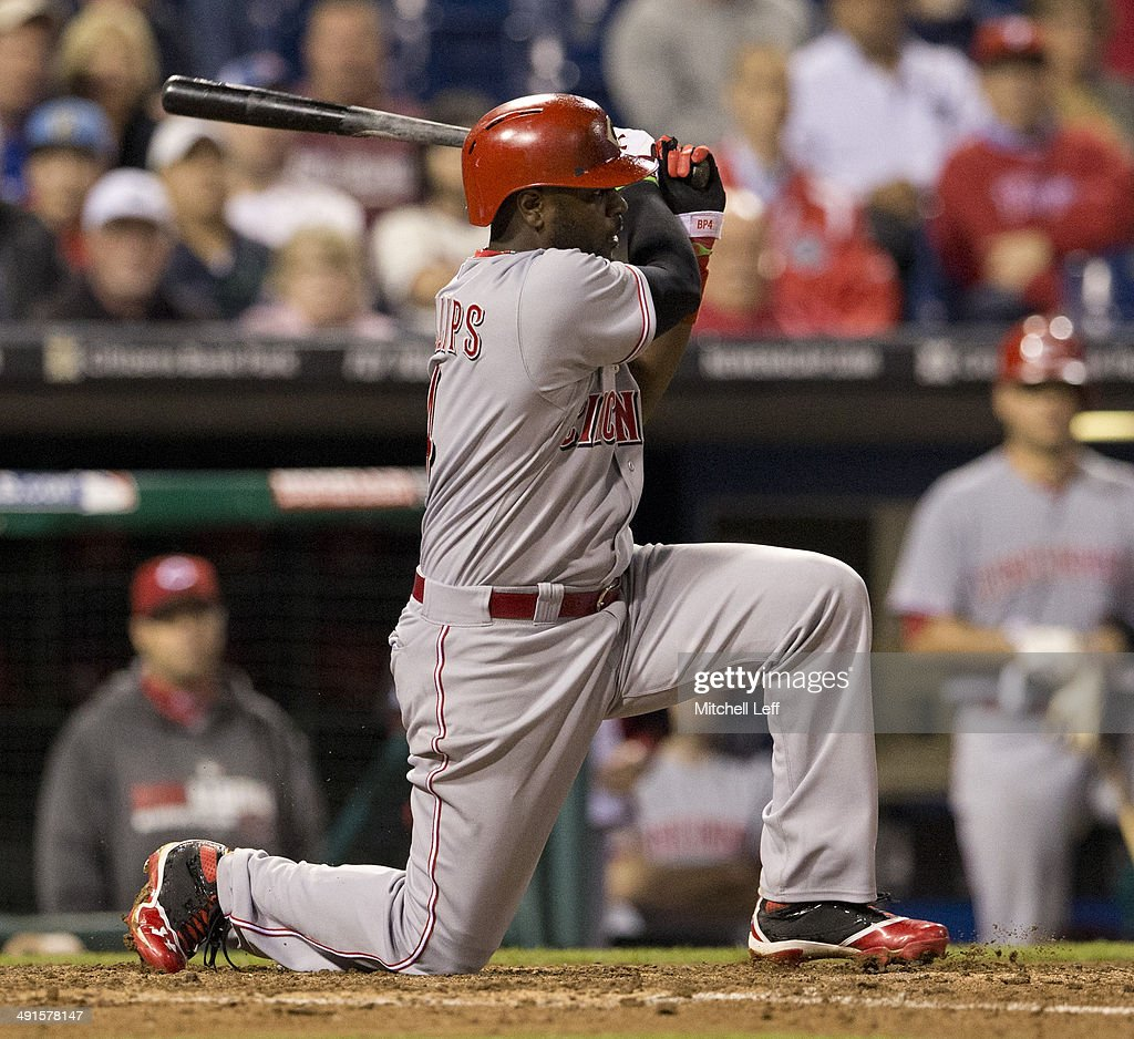 Second baseman Brandon Phillips #4 of the Cincinnati Reds hits a double in the top of the ninth inning against the Philadelphia Phillies on May 16, 2014 at Citizens Bank Park in Philadelphia, Pennsylvania.