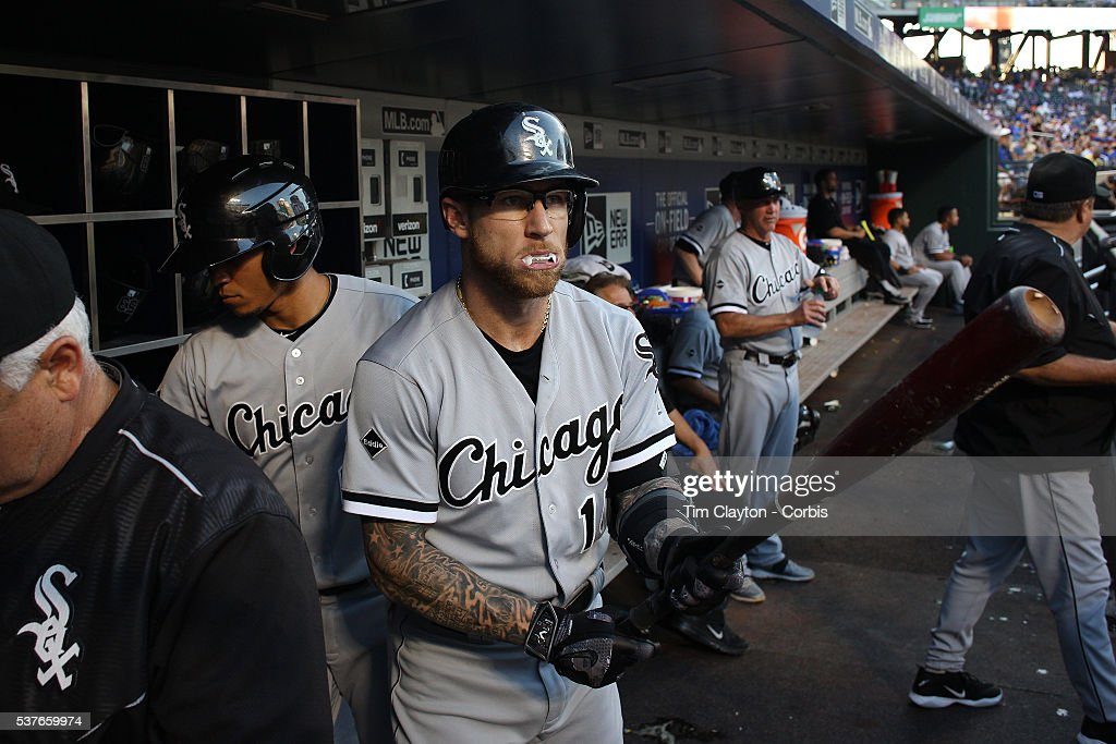 Second baseman <a gi-track='captionPersonalityLinkClicked' href=/galleries/search?phrase=Brett+Lawrie&family=editorial&specificpeople=5496694 ng-click='$event.stopPropagation()'>Brett Lawrie</a> #15 of the Chicago White Sox preparing to bat in the dugout wearing his white mouth guard, which makes it look like he has vampire fangs when it stick out of his mouth. The look has earned him the nickname 'The Canadian Vampire' during the Chicago White Sox Vs New York Mets regular season MLB game at Citi Field on May 31, 2016 in New York City.