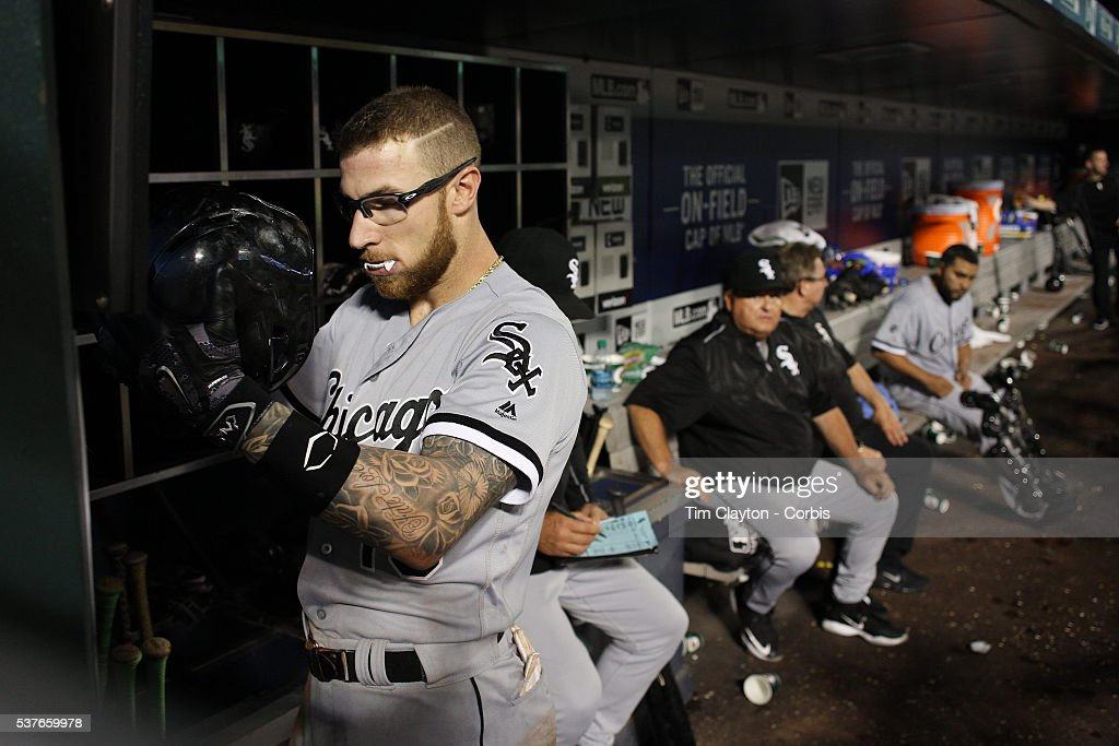 Second baseman Brett Lawrie #15 of the Chicago White Sox preparing to bat in the dugout wearing his white mouth guard, which makes it look like he has vampire fangs when it stick out of his mouth. The look has earned him the nickname 'The Canadian Vampire' during the Chicago White Sox Vs New York Mets regular season MLB game at Citi Field on May 31, 2016 in New York City.