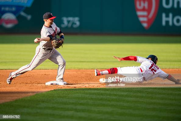 Second baseman Brian Dozier of the Minnesota Twins throws to first on a ground by by Mike Napoli as Francisco Lindor of the Cleveland Indians is...