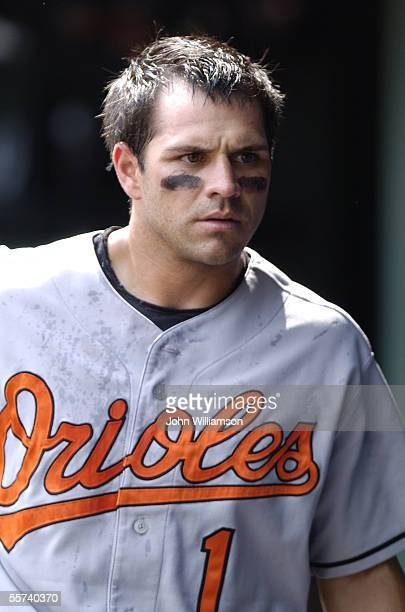 Second baseman Brian Roberts of the Baltimore Orioles looks down the bench in the dugout during the game against the Texas Rangers at Ameriquest...