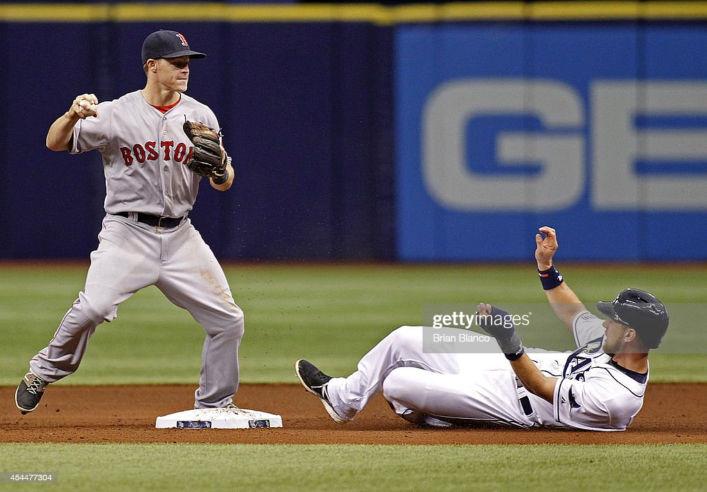 Second baseman <a gi-track='captionPersonalityLinkClicked' href=/galleries/search?phrase=Brock+Holt&family=editorial&specificpeople=9690034 ng-click='$event.stopPropagation()'>Brock Holt</a> #26 of the Boston Red Sox forces on <a gi-track='captionPersonalityLinkClicked' href=/galleries/search?phrase=Ben+Zobrist&family=editorial&specificpeople=2120037 ng-click='$event.stopPropagation()'>Ben Zobrist</a> #18 of the Tampa Bay Rays out at second base off of the fielder's choice by Wil Myers during the fifth inning of a game on September 1, 2014 at Tropicana Field in St. Petersburg, Florida.