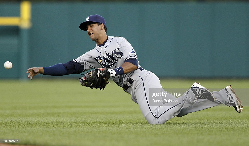Second baseman Carl Figueroa #35 of the Tampa Bay Rays throws out Alex Avila of the Detroit Tigers at first base after making a diving stop on his grounder during the fifth inning at Comerica Park on July 3, 2014 in Detroit, Michigan.