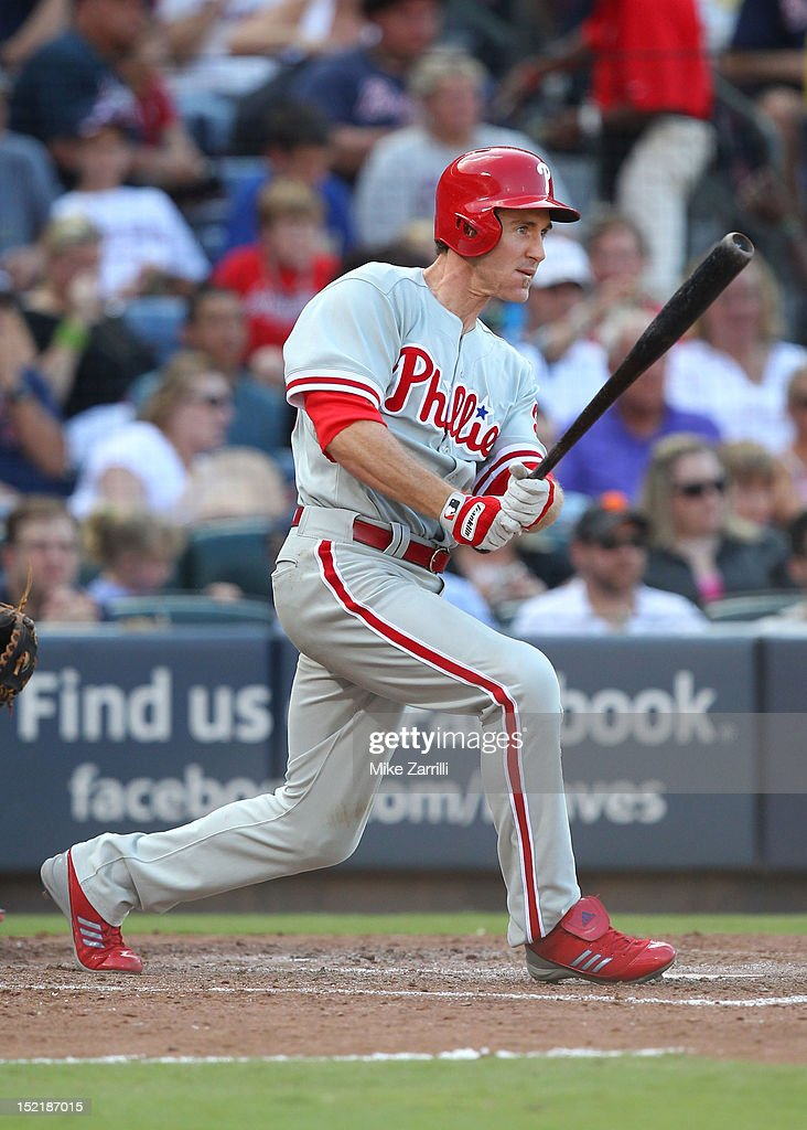 Second baseman <a gi-track='captionPersonalityLinkClicked' href=/galleries/search?phrase=Chase+Utley&family=editorial&specificpeople=161391 ng-click='$event.stopPropagation()'>Chase Utley</a> #26 of the Philadelphia Phillies swings during the game against the Atlanta Braves at Turner Field on September 1, 2012 in Atlanta, Georgia.