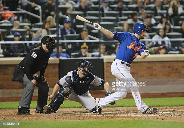 Second Baseman Daniel Murphy of the New York Mets bats against the New York Yankees at Citi Field on May 14 2014 in the Flushing neighborhood of the...