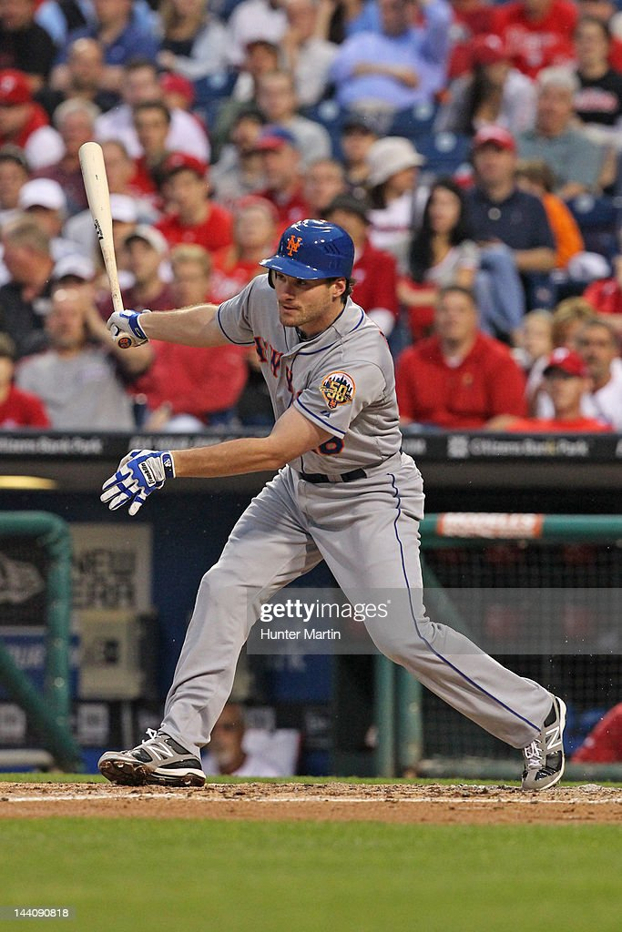 Second baseman Daniel Murphy #28 of the New York Mets bats during a game against the Philadelphia Phillies at Citizens Bank Park on May 9, 2012 in Philadelphia, Pennsylvania.