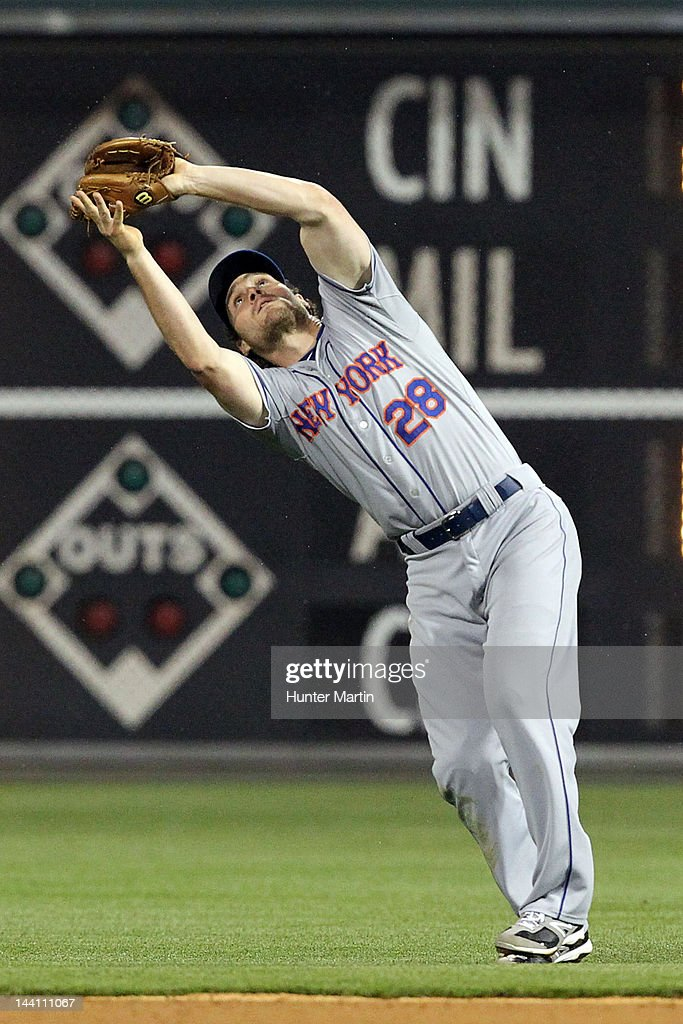 Second baseman Daniel Murphy #28 of the New York Mets catches a fly ball during a game against the Philadelphia Phillies at Citizens Bank Park on May 9, 2012 in Philadelphia, Pennsylvania.