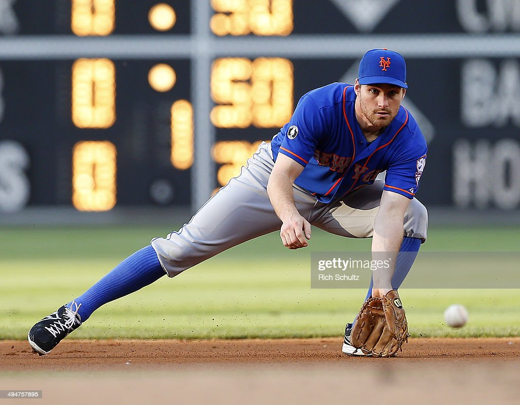 Second baseman Daniel Murphy #28 of the New York Mets fields a ground ball hit by Ben Revere #2 of the Philadelphia Phillies during the first inning in a game at Citizens Bank Park on May 30, 2014 in Philadelphia, Pennsylvania.