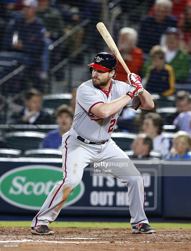 Second baseman Daniel Murphy of the Washington Nationals gets set for a pitch during the game against the Atlanta Braves at Turner Field on April 6...