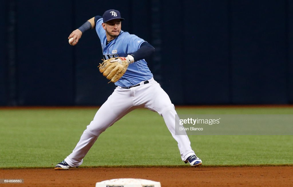 Second baseman Daniel Robertson #29 of the Tampa Bay Rays fields the ground out by Rajai Davis of the Oakland Athletics during the fifth inning of a game on June 11, 2017 at Tropicana Field in St. Petersburg, Florida.