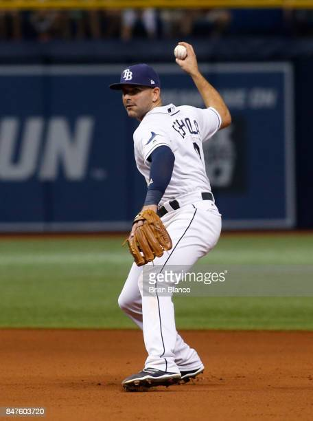 Second baseman Danny Espinosa of the Tampa Bay Rays fields the ground out by Jackie Bradley Jr of the Boston Red Sox during the seventh inning of a...