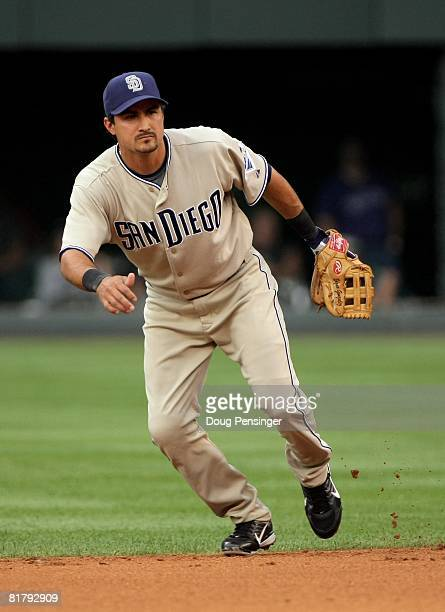 Second baseman Edgar Gonzalez of the San Diego Padres plays defense against the Colorado Rockies at Coors Field on June 30 2008 in Denver Colorado...
