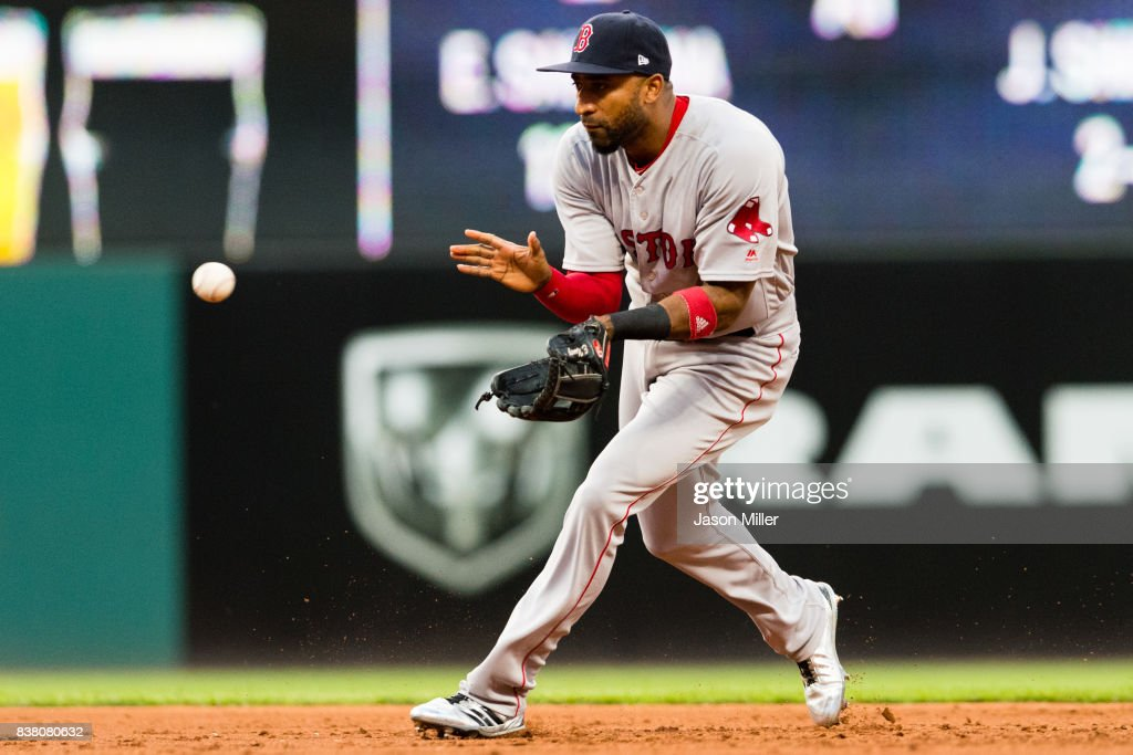 Second baseman Eduardo Nunez #36 of the Boston Red Sox fields a ground ball hit by Giovanny Urshela #39 of the Cleveland Indians during the third inning at Progressive Field on August 23, 2017 in Cleveland, Ohio.