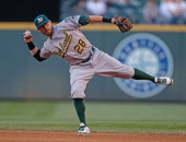 Second baseman Eric Sogard of the Oakland Athletics throws to first base against the Seattle Mariners at Safeco Field on July 12 2014 in Seattle...