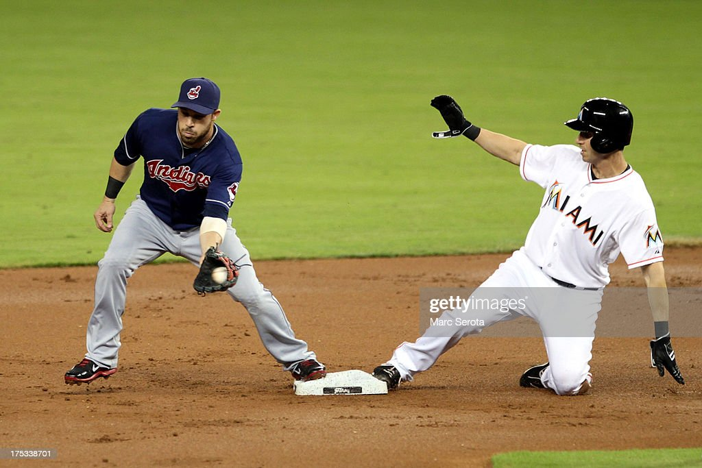 Second baseman <a gi-track='captionPersonalityLinkClicked' href=/galleries/search?phrase=Jason+Kipnis&family=editorial&specificpeople=5330784 ng-click='$event.stopPropagation()'>Jason Kipnis</a> #22 of the Cleveland Indians cannot turn a double play against Ed Lucas #59 of the Miami Marlins at Marlins Park on August 2, 2013 in Miami, Florida.