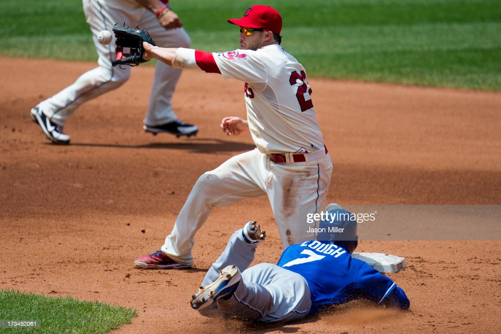 Second baseman <a gi-track='captionPersonalityLinkClicked' href=/galleries/search?phrase=Jason+Kipnis&family=editorial&specificpeople=5330784 ng-click='$event.stopPropagation()'>Jason Kipnis</a> #22 of the Cleveland Indians makes the catch as <a gi-track='captionPersonalityLinkClicked' href=/galleries/search?phrase=David+Lough&family=editorial&specificpeople=6780100 ng-click='$event.stopPropagation()'>David Lough</a> #7 of the Kansas City Royals steals second during the fourth inning at Progressive Field on July 14, 2013 in Cleveland, Ohio.