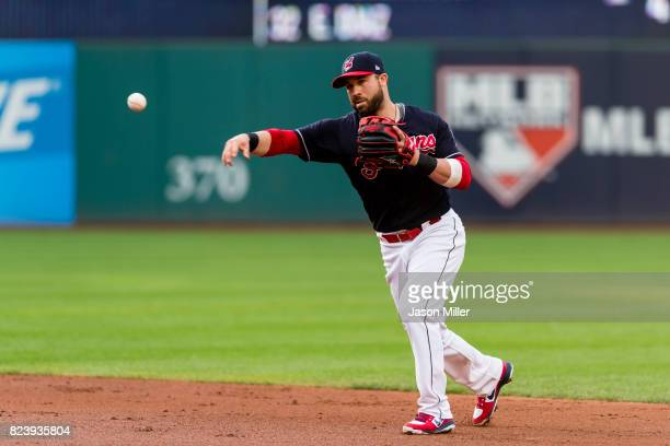 Second baseman Jason Kipnis of the Cleveland Indians throws out Allen Cordoba of the San Diego Padres during the third inning at Progressive Field on...