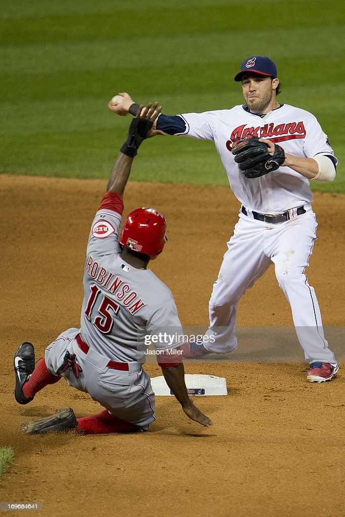 Second baseman <a gi-track='captionPersonalityLinkClicked' href=/galleries/search?phrase=Jason+Kipnis&family=editorial&specificpeople=5330784 ng-click='$event.stopPropagation()'>Jason Kipnis</a> #22 of the Cleveland Indians throws out Ryan Hanigan #29 at first as Derrick Robinson #15 of the Cincinnati Reds is out at second during the seventh inning at Progressive Field on May 30, 2013 in Cleveland, Ohio. The Indians defeated the Reds 7-1.