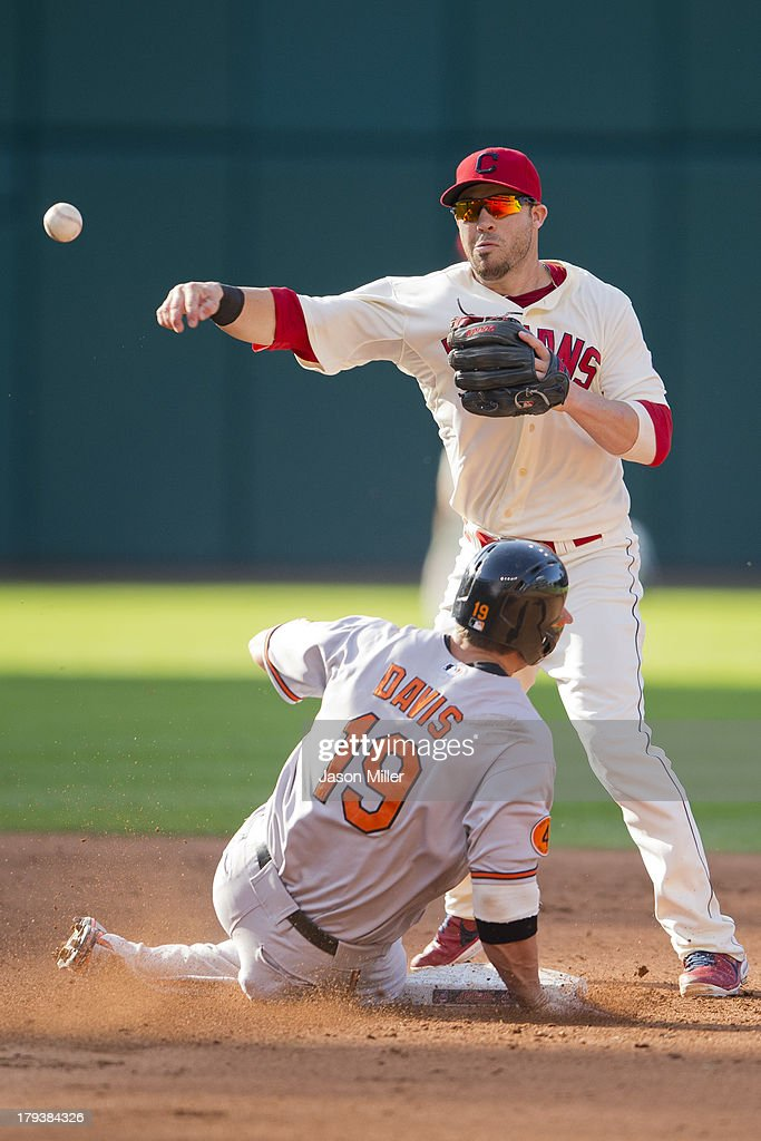 Second baseman <a gi-track='captionPersonalityLinkClicked' href=/galleries/search?phrase=Jason+Kipnis&family=editorial&specificpeople=5330784 ng-click='$event.stopPropagation()'>Jason Kipnis</a> #22 of the Cleveland Indians throws to first as Chris Davis #19 of the Baltimore Orioles is forced out at second during the fifth inning at Progressive Field on September 2, 2013 in Cleveland, Ohio.