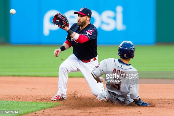 Second baseman Jason Kipnis of the Cleveland Indians waits for the throw to tag out Norichika Aoki of the Houston Astros on a steal attempt during...