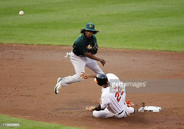 Second baseman Jemile Weeks of the Oakland Athletics throws to first base to turn a double play after forcing out Derrek Lee of the Baltimore Orioles...