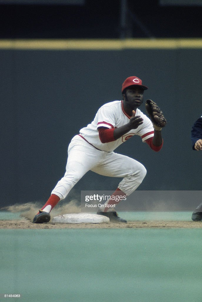 Second baseman Joe Morgan of the Cincinnati Reds readies to catch the ball against the Oakland Athletics during the World Series at the Riverfront...