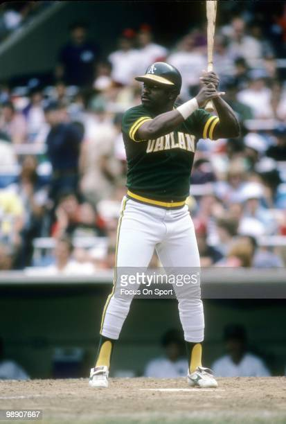 Second baseman Joe Morgan of the Oakland Athletics at the plate ready to swing at a pitch against the New York Yankees circa 1984 during a Major...