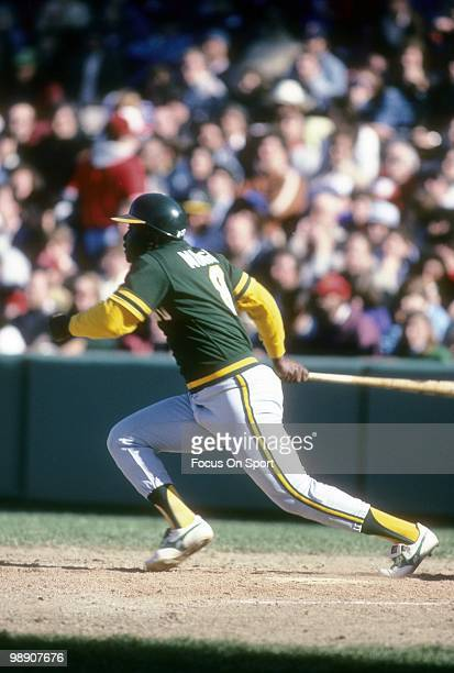 Second baseman Joe Morgan of the Oakland Athletics swings and watches the flight of his ball circa 1984 during a Major League Baseball game Morgan...