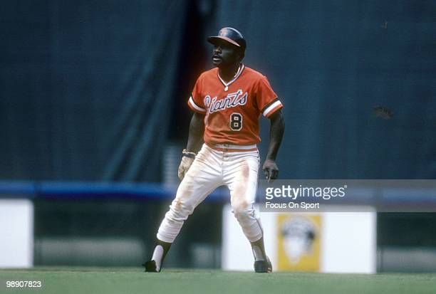 Second baseman Joe Morgan of the San Francisco Giants in action leads off of second base circa 1982 during a Major League Baseball game Morgan played...