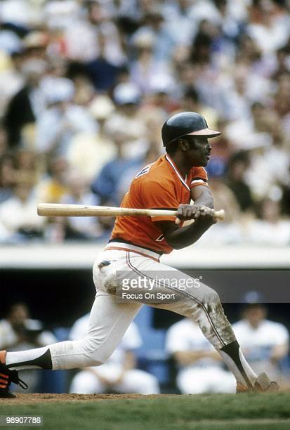 Second baseman Joe Morgan of the San Francisco Giants swings and watches the flight of his ball circa 1982 during a Major League Baseball game Morgan...