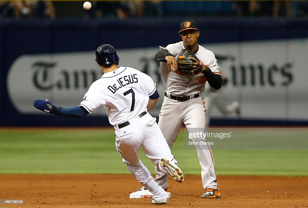 Second baseman <a gi-track='captionPersonalityLinkClicked' href=/galleries/search?phrase=Jonathan+Schoop&family=editorial&specificpeople=2526897 ng-click='$event.stopPropagation()'>Jonathan Schoop</a> #6 of the Baltimore Orioles gets the out on <a gi-track='captionPersonalityLinkClicked' href=/galleries/search?phrase=David+DeJesus&family=editorial&specificpeople=206765 ng-click='$event.stopPropagation()'>David DeJesus</a> #7 of the Tampa Bay Rays at second base then turns the double play for the out on <a gi-track='captionPersonalityLinkClicked' href=/galleries/search?phrase=Steven+Souza+-+Baseball+player&family=editorial&specificpeople=12493609 ng-click='$event.stopPropagation()'>Steven Souza</a> to end the sixth inning of a Opening Day game on April 6, 2015 at Tropicana Field in St. Petersburg, Florida.