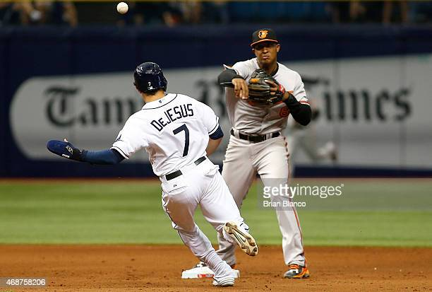 Second baseman Jonathan Schoop of the Baltimore Orioles gets the out on David DeJesus of the Tampa Bay Rays at second base then turns the double play...