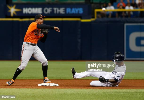 Second baseman Jonathan Schoop of the Baltimore Orioles gets the forced out at second base on Tim Beckham of the Tampa Bay Rays then turns the double...