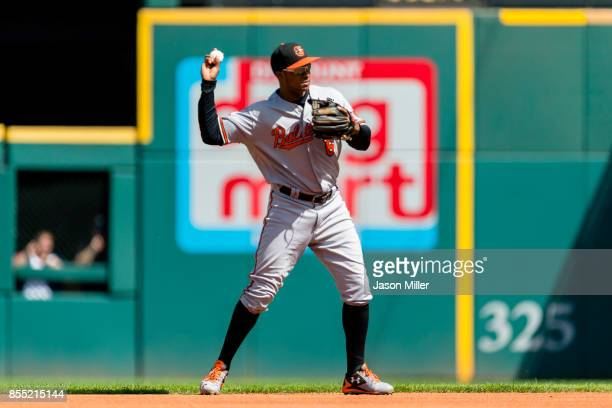Second baseman Jonathan Schoop of the Baltimore Orioles throws out Yandy Diaz of the Cleveland Indians to end the second inning at Progressive Field...
