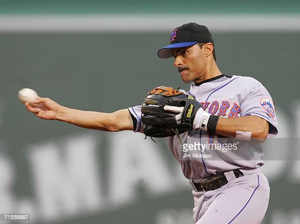 Second baseman Jose Valentin of the New York Mets throws to first against the Boston Red Sox on June 29 2006 at Fenway Park in Boston Massachusetts...