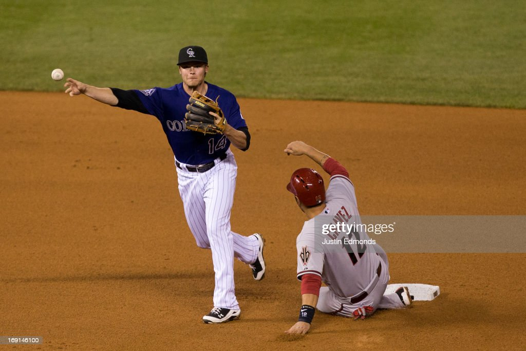 Second baseman <a gi-track='captionPersonalityLinkClicked' href=/galleries/search?phrase=Josh+Rutledge&family=editorial&specificpeople=9541486 ng-click='$event.stopPropagation()'>Josh Rutledge</a> #14 of the Colorado Rockies is unable to complete the double play as <a gi-track='captionPersonalityLinkClicked' href=/galleries/search?phrase=Eric+Chavez&family=editorial&specificpeople=201561 ng-click='$event.stopPropagation()'>Eric Chavez</a> #12 of the Arizona Diamondbacks slides in to break up the play during the seventh inning at Coors Field on May 20, 2013 in Denver, Colorado. The Diamondbacks defeated the Rockies 5-1.