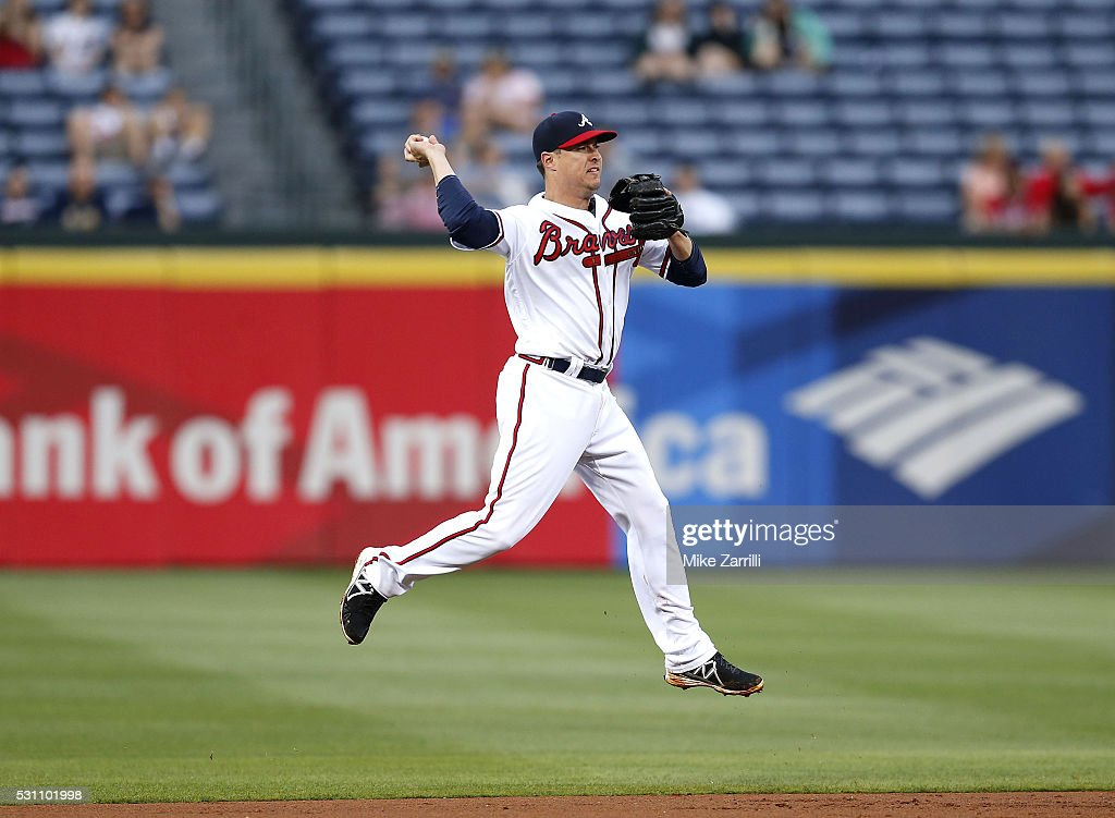 Second baseman <a gi-track='captionPersonalityLinkClicked' href=/galleries/search?phrase=Kelly+Johnson+-+Baseball+Player&family=editorial&specificpeople=4520789 ng-click='$event.stopPropagation()'>Kelly Johnson</a> #24 of the Atlanta Braves makes a play in the second inning during the game against the Philadelphia Phillies at Turner Field on May 12, 2016 in Atlanta, Georgia.