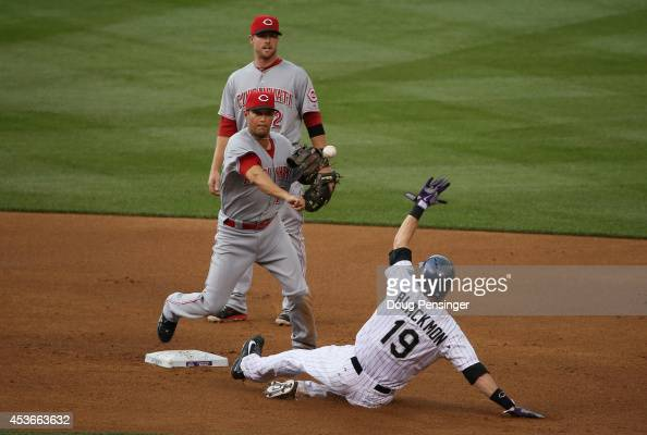 Second baseman Kris Negron of the Cincinnati Reds turns a double play on Charlie Blackmon of the Colorado Rockies on a ball hit by Justin Morneau of...