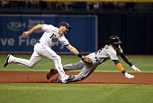Second baseman Logan Forsythe of the Tampa Bay Rays catches Cameron Maybin of the Detroit Tigers attempting to steal second base during the first...