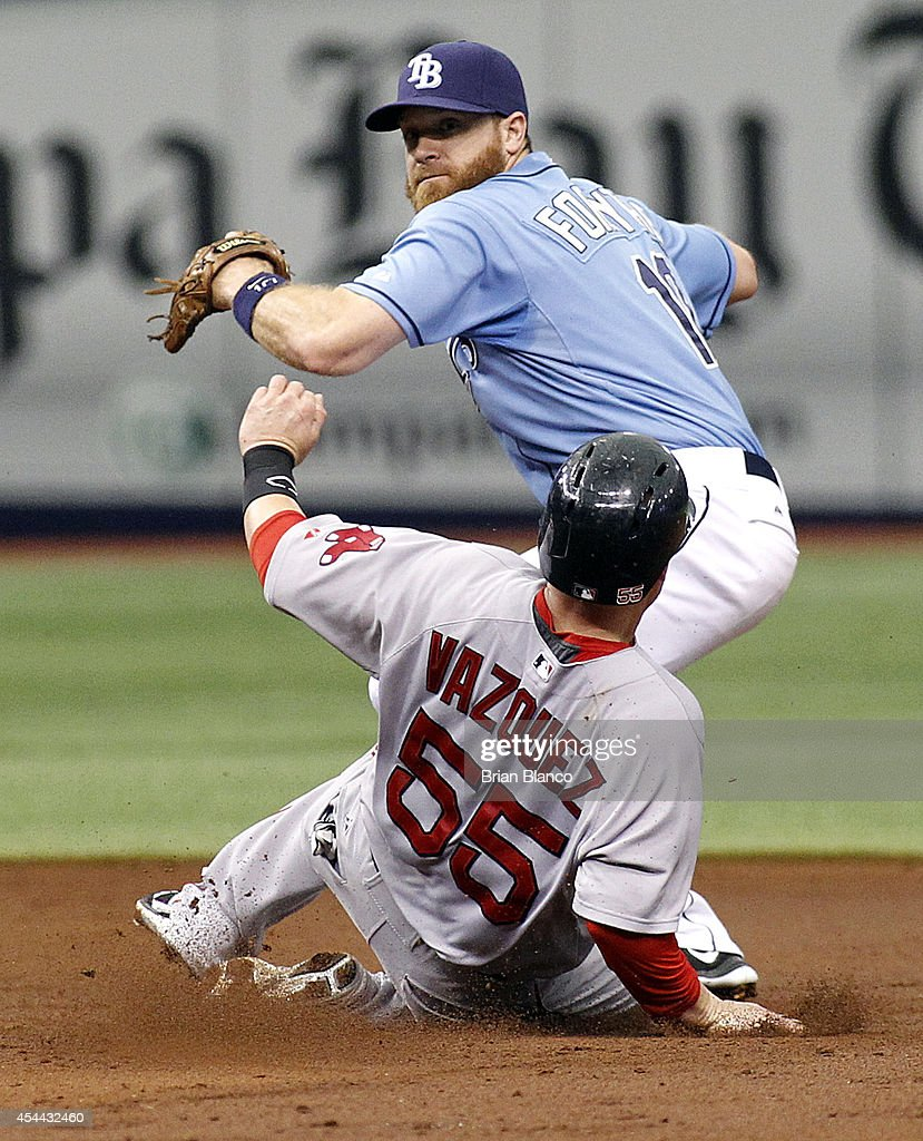 Second baseman Logan Forsythe #10 of the Tampa Bay Rays gets the out on Christian Vazquez #55 of the Boston Red Sox at second base off the fielder's choice by Mookie Betts during the third inning of a game on August 31, 2014 at Tropicana Field in St. Petersburg, Florida.