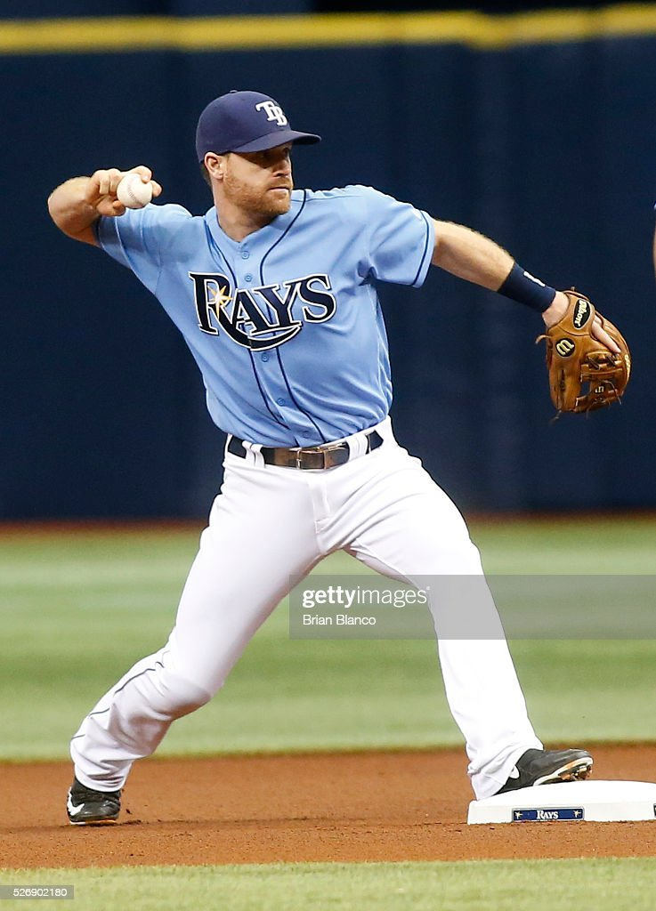 Second baseman <a gi-track='captionPersonalityLinkClicked' href=/galleries/search?phrase=Logan+Forsythe&family=editorial&specificpeople=4412508 ng-click='$event.stopPropagation()'>Logan Forsythe</a> #11 of the Tampa Bay Rays turns the double play on Josh Donaldson of the Toronto Blue Jays during the first inning of a game on May 1, 2016 at Tropicana Field in St. Petersburg, Florida.