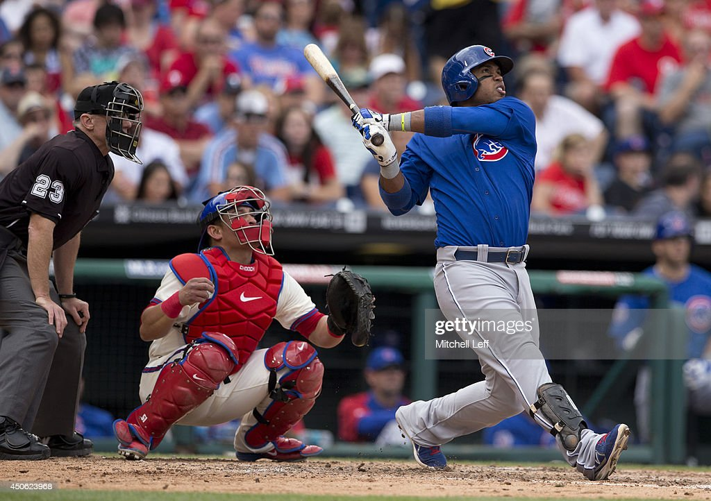 Second baseman Luis Valbuena #24 of the Chicago Cubs hits a home run in the top of the fourth inning against the Philadelphia Phillies on June 14, 2014 at Citizens Bank Park in Philadelphia, Pennsylvania.