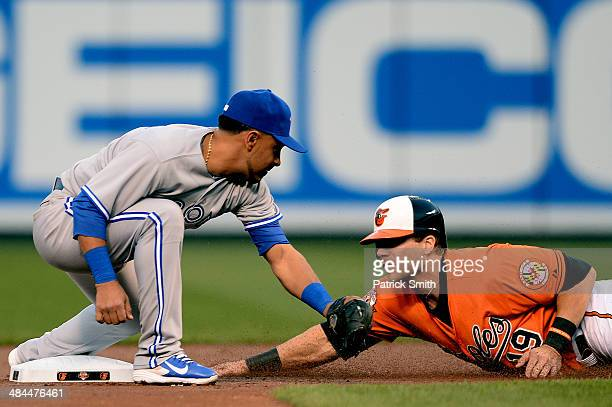 Second baseman Maicer Izturis of the Toronto Blue Jays cannot make the tag on Chris Davis of the Baltimore Orioles as he steals second base in the...