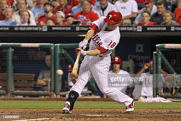 Second baseman Mike Fontenot of the Philadelphia Phillies bats during game two of an interleague game against the Tampa Bay Rays at Citizens Bank...